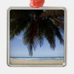Palm tree along Caribbean Sea. Metal Ornament