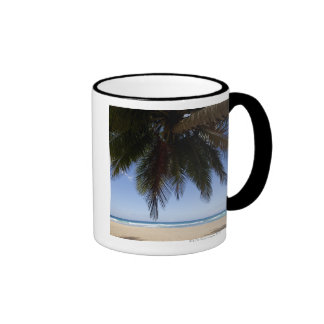 Palm tree along Caribbean Sea. Ringer Coffee Mug