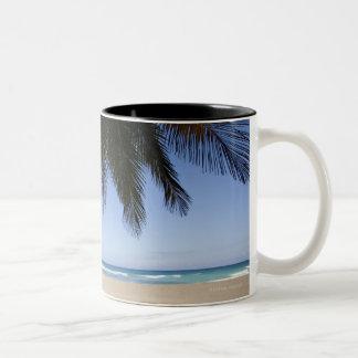 Palm tree along Caribbean Sea. Two-Tone Coffee Mug