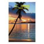 Palm Tree and Caribbean Island Sunset, St. Thomas Posters