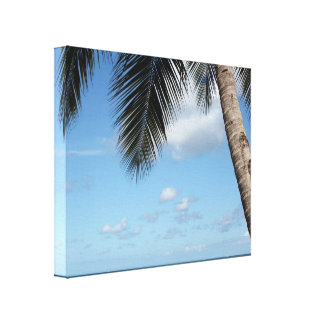 Palm Tree and Caribbean Sea Canvas Print