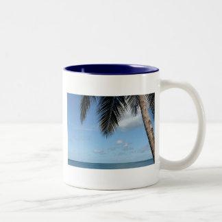 Palm Tree and Caribbean Sea Two-Tone Coffee Mug