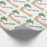 Palm Tree and Flamingos Tropical Christmas Wrapping Paper