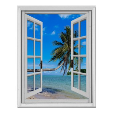 Beach Themed Palm Tree and Ocean Artificial Window View Poster