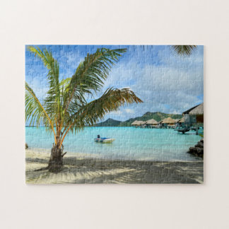Palm tree and overwater resort jigsaw puzzle