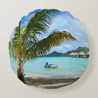 Palm tree and overwater resort round pillow