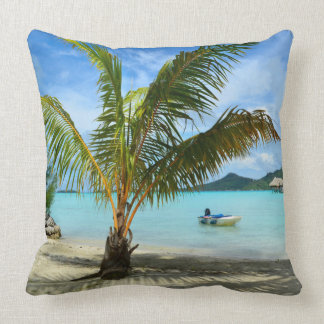 Palm tree and overwater resort throw pillow