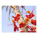 Palm Tree and Red Flower Custom Invitation