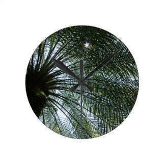 Palm Tree and Star Shaped Sun Ray Wall Clock