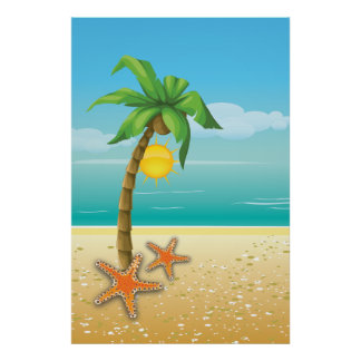 Palm tree and sun tropical scenery print/poster
