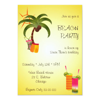 Palm Tree and Swim Suit Beach Party Invitation