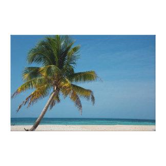 Palm tree and white sand beach  2 canvas print