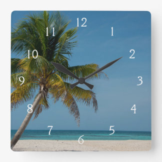 Palm tree and white sand beach  2 square wallclocks