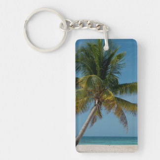 Palm tree and white sand beach  2 keychain