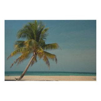 Palm tree and white sand beach  2 wood wall art