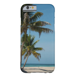 Palm tree and white sand beach barely there iPhone 6 case