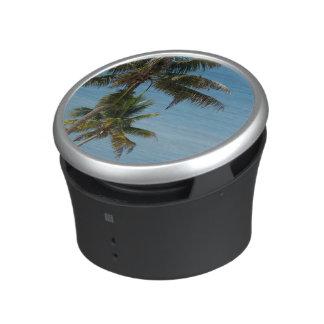 Palm tree and white sand beach bluetooth speaker