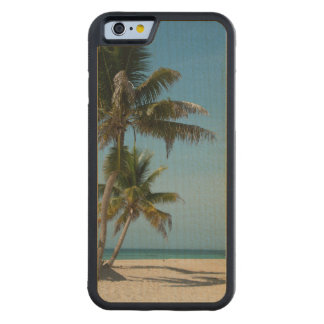 Palm tree and white sand beach carved maple iPhone 6 bumper case