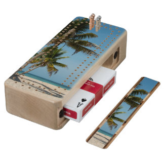Palm tree and white sand beach cribbage board