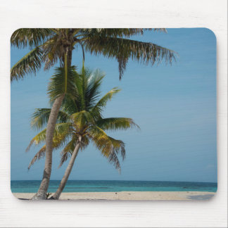 Palm tree and white sand beach mouse pad