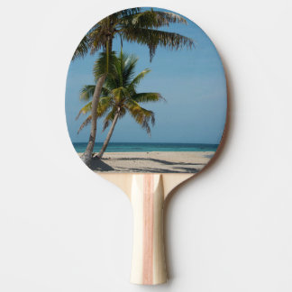 Palm tree and white sand beach ping pong paddle