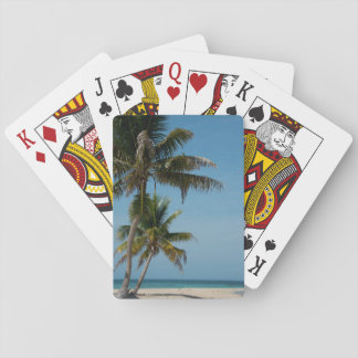 Palm tree and white sand beach playing cards