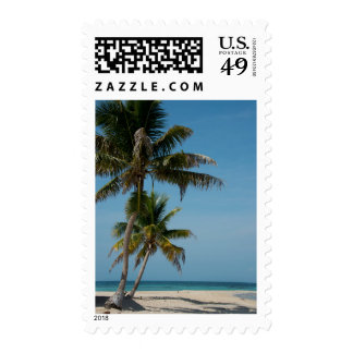 Palm tree and white sand beach postage