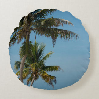 Palm tree and white sand beach round pillow