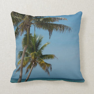 Palm tree and white sand beach throw pillow
