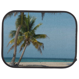 Palm tree and white sand beach floor mat