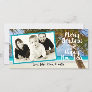 Palm Tree Angled Photo Christmas Holiday Card