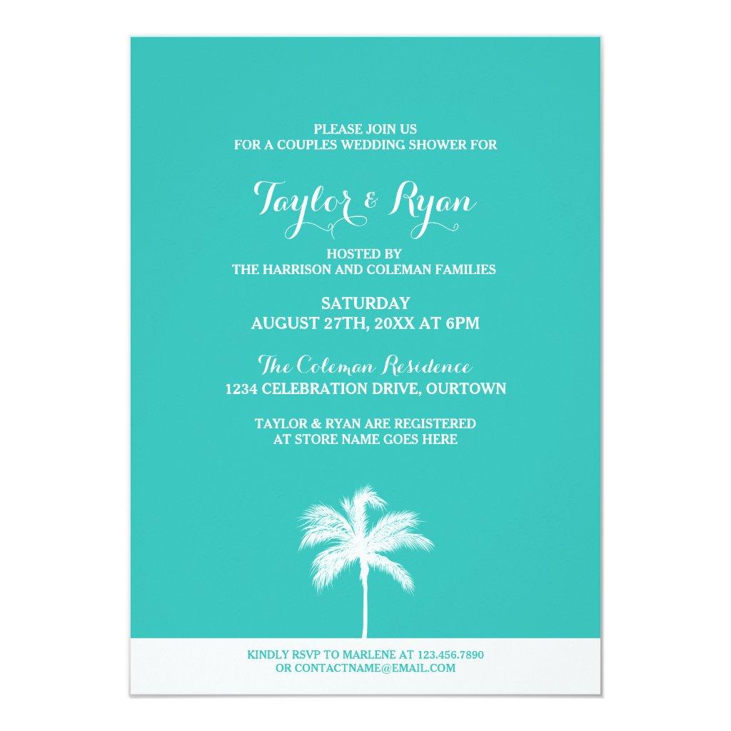 Palm Tree Aqua Couples Wedding Shower Invitation