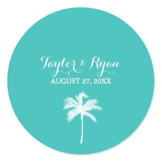 Palm Tree Aqua Envelope Seal Sticker