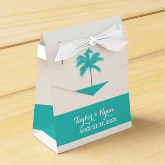 Palm Tree Aqua Wedding Favor Box