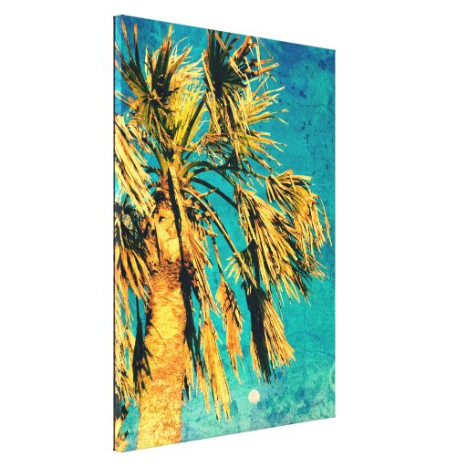 Palm Tree Art Turquoise Moon Canvas Print