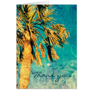 Palm Tree Art Turquoise Moon Thank You Card