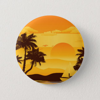 Palm Tree at Sunset 2 Pinback Button