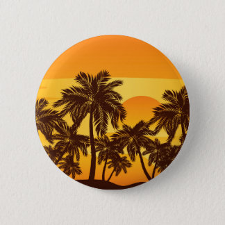 Palm Tree at Sunset Pinback Button