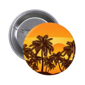 Palm Tree at Sunset Pinback Button