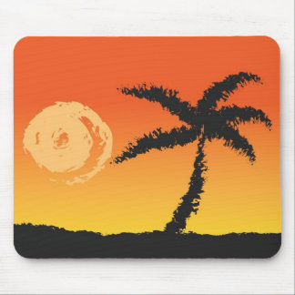Palm Tree at Sunset Sketch Mousepad