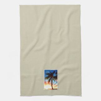 Palm Tree at Sunset Stamp on Cream Hand Towels