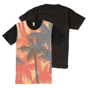 all_summer_products Palm Tree Background All-over Print Panel T-shirt