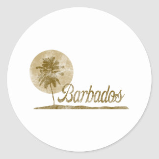 Palm Tree Barbados Classic Round Sticker