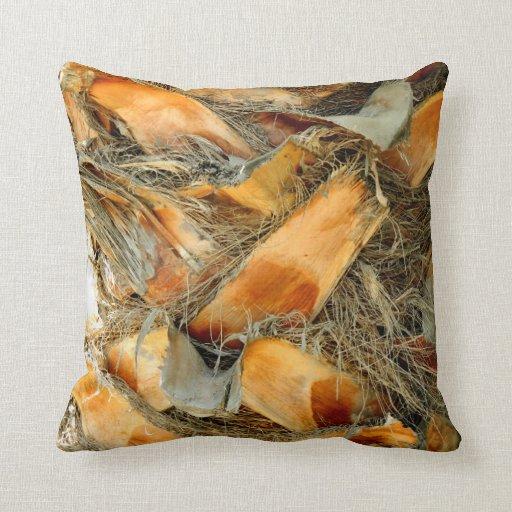 Palm tree bark natural texture pillow