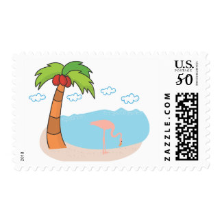 Palm Tree, Beach and Flamingo Postage