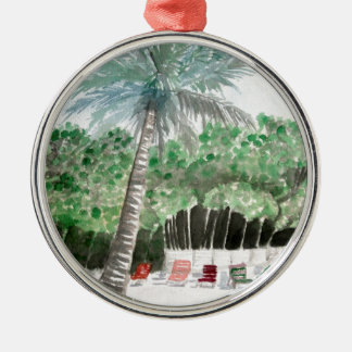 palm tree beach art metal ornament