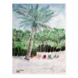 palm tree beach art postcard