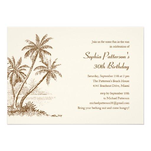 Palm Tree Beach Birthday Party Invitations