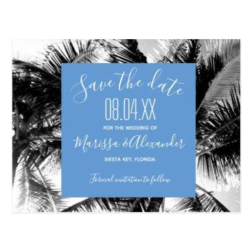 Beach Themed Palm Tree Beach Blue Wedding Save the Dates Postcard