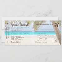 Palm Tree Beach Boarding Pass Wedding Invitation